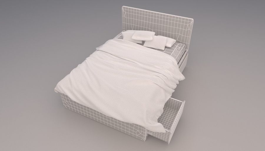 Platform Bed with Underbed Storage royalty-free 3d model - Preview no. 10