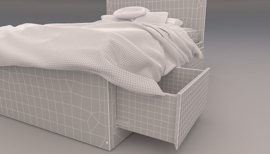 Platform Bed with Underbed Storage royalty-free 3d model - Preview no. 19