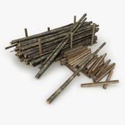 Старые деревянные бревна 3d model