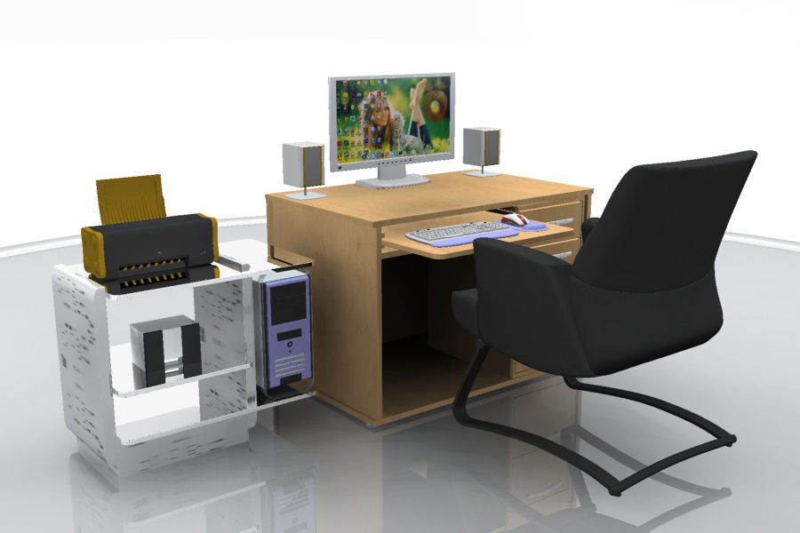 Computer  Desk  CPU royalty-free 3d model - Preview no. 5