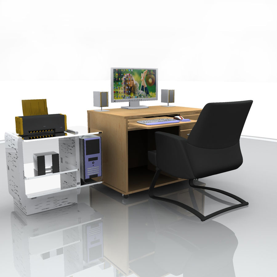 Computer  Desk  CPU royalty-free 3d model - Preview no. 4