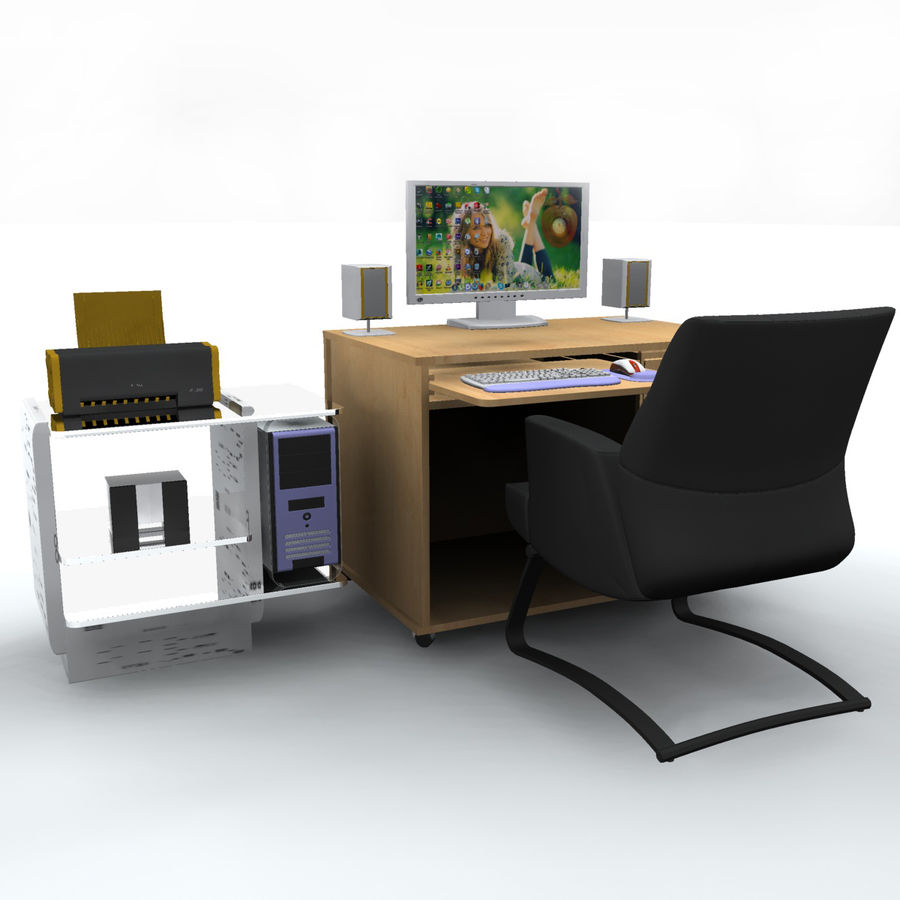 Computer  Desk  CPU royalty-free 3d model - Preview no. 6