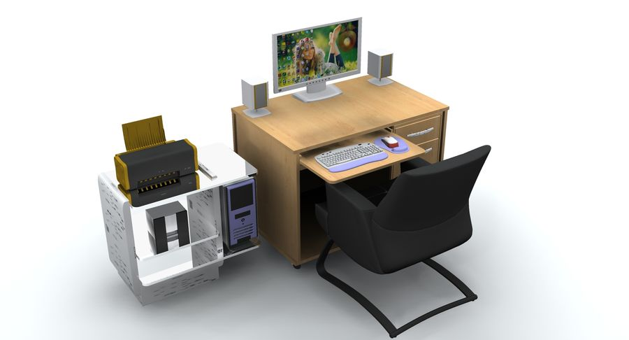 Computer  Desk  CPU royalty-free 3d model - Preview no. 1