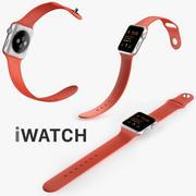 Apple Watch 42 mm srebrna aluminiowa obudowa z otwartą pomarańczową opaską sportową 3d model