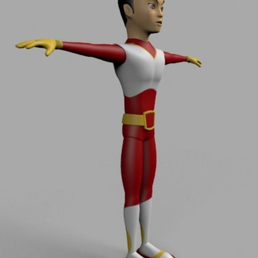 Cartoon Hero royalty-free 3d model - Preview no. 2