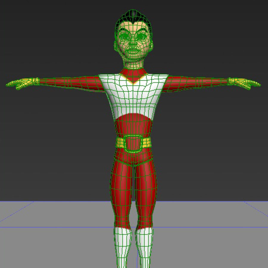 Cartoon Hero royalty-free 3d model - Preview no. 5