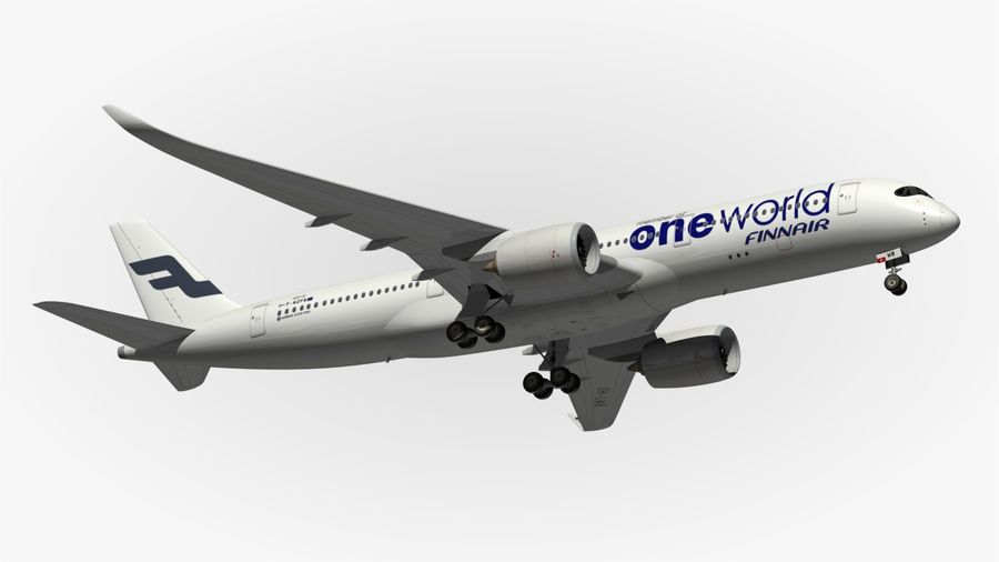 空中客车A350 900 Finnair royalty-free 3d model - Preview no. 8