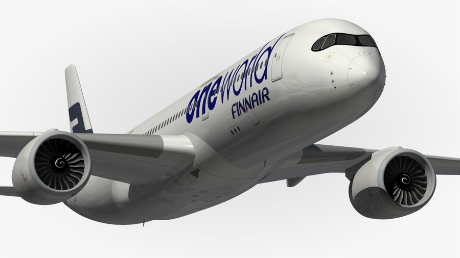 空中客车A350 900 Finnair royalty-free 3d model - Preview no. 3