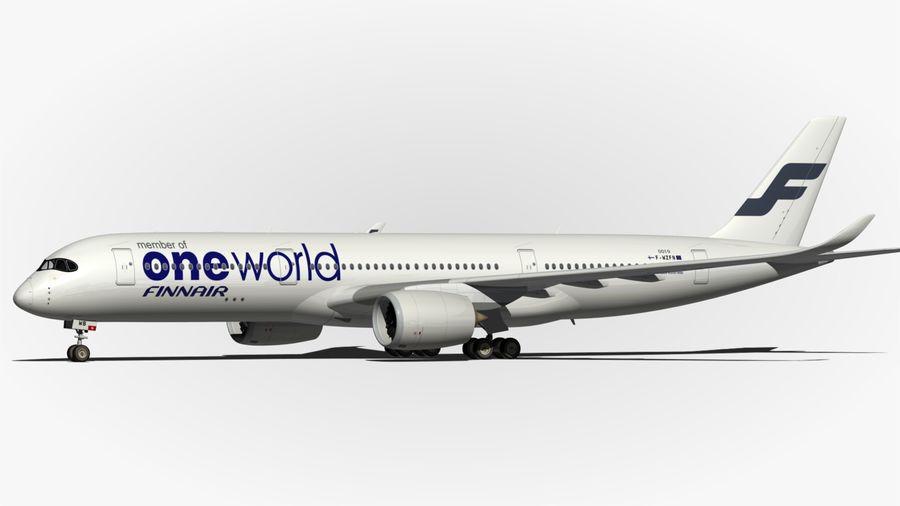 空中客车A350 900 Finnair royalty-free 3d model - Preview no. 10