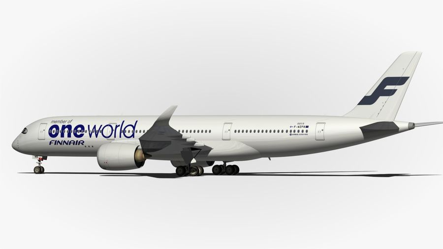 空中客车A350 900 Finnair royalty-free 3d model - Preview no. 6