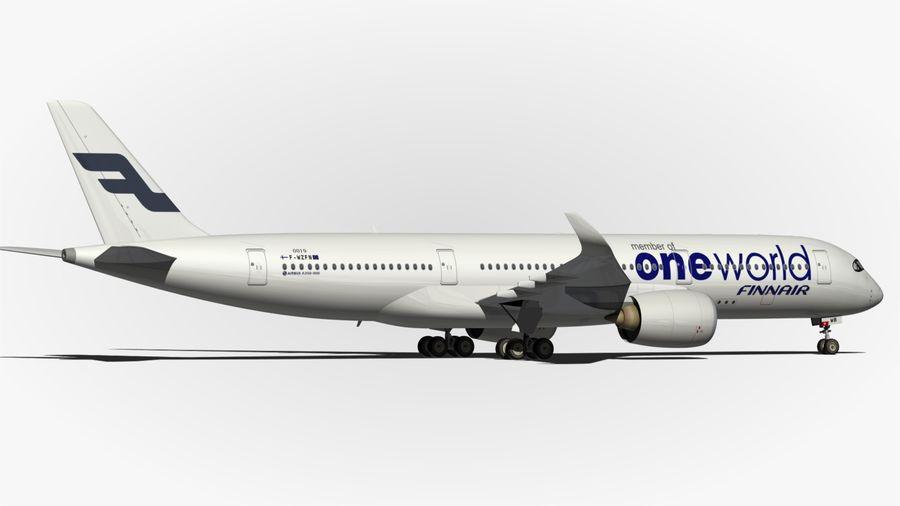 空中客车A350 900 Finnair royalty-free 3d model - Preview no. 11