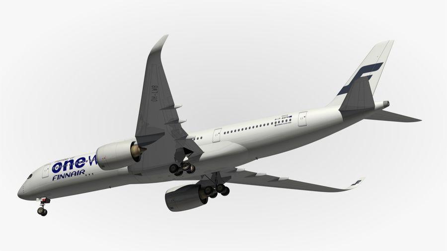 空中客车A350 900 Finnair royalty-free 3d model - Preview no. 9