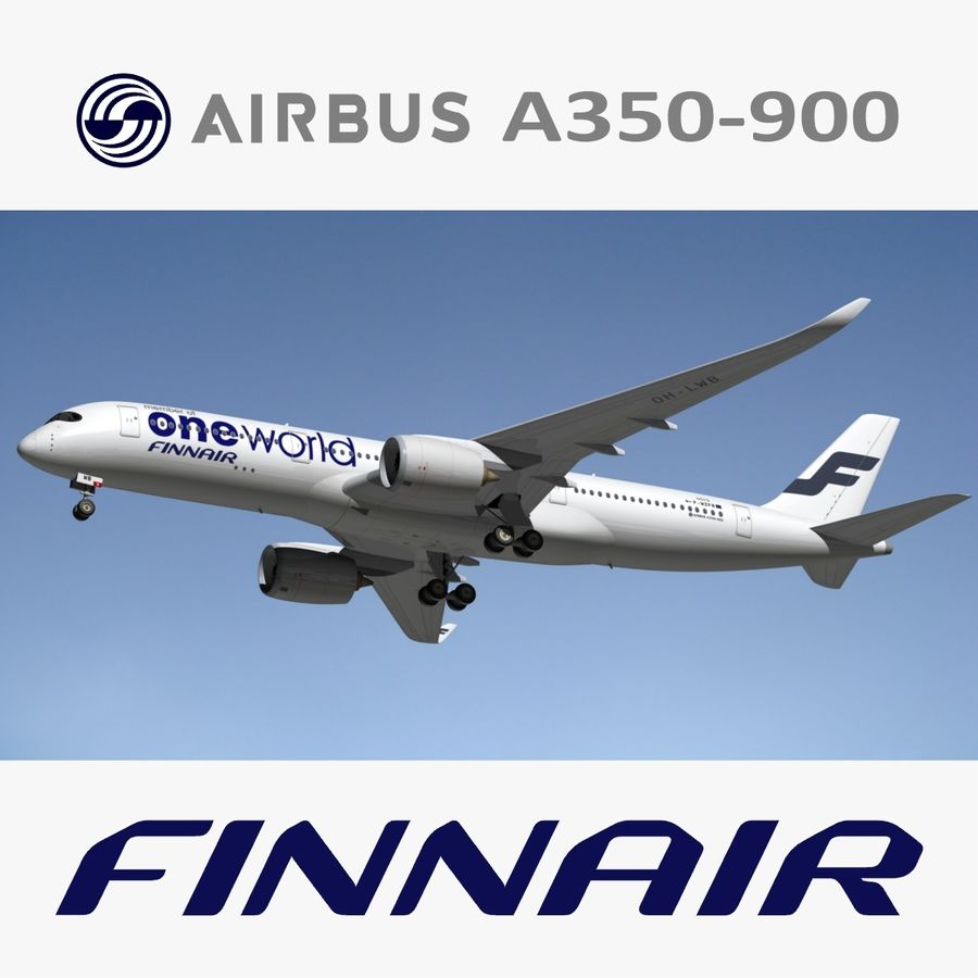 空中客车A350 900 Finnair royalty-free 3d model - Preview no. 1
