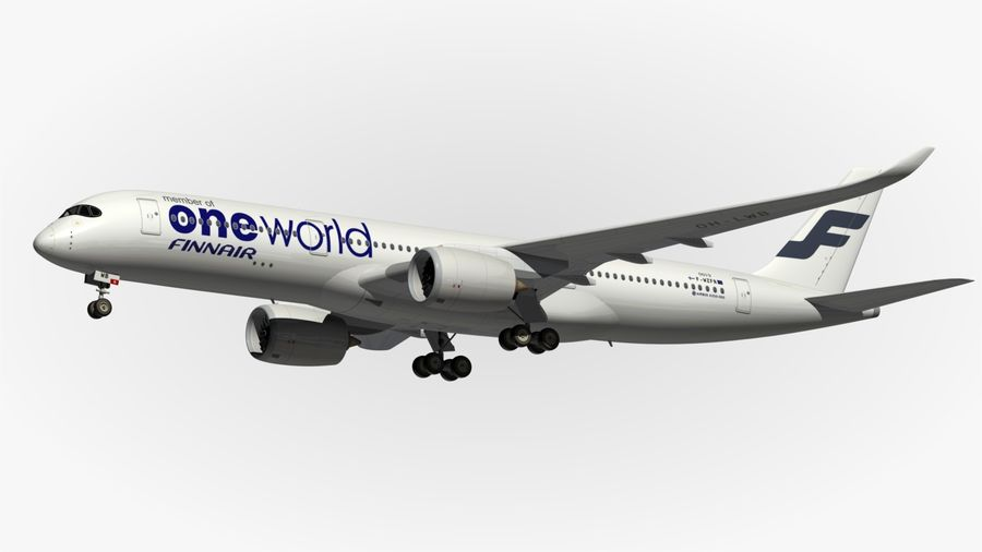 Airbus A350 900 Finnair royalty-free 3d model - Preview no. 5