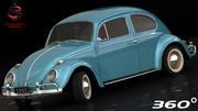 Volkswagen Beetle 1962 (низкий интерьер) 3d model