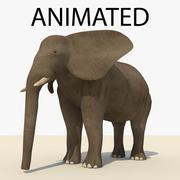 Elefante marrom animado 3d model