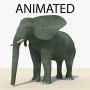 Éléphant bleu animé 3d model