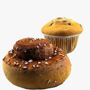 Rouleau à la cannelle + muffin 3d model
