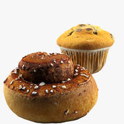 Cinnamon roll + Muffin 3d model