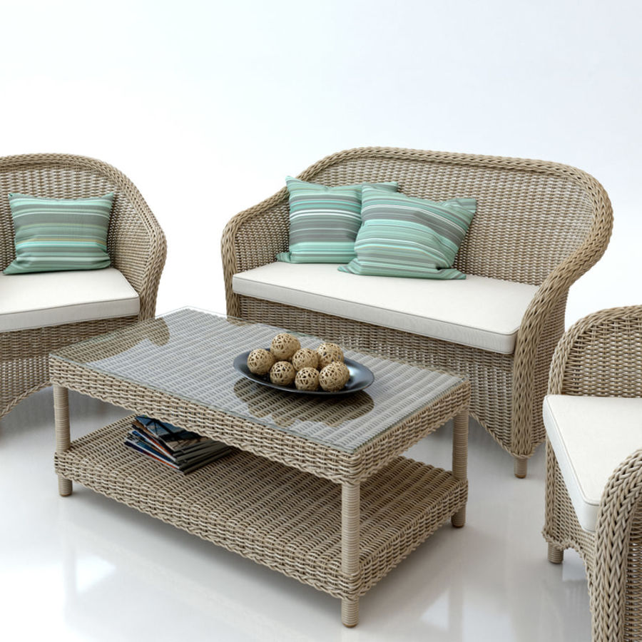 Rattan furniture collection royalty-free 3d model - Preview no. 8