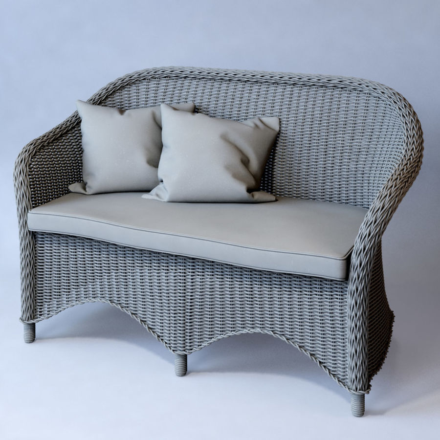Rattan furniture collection royalty-free 3d model - Preview no. 35