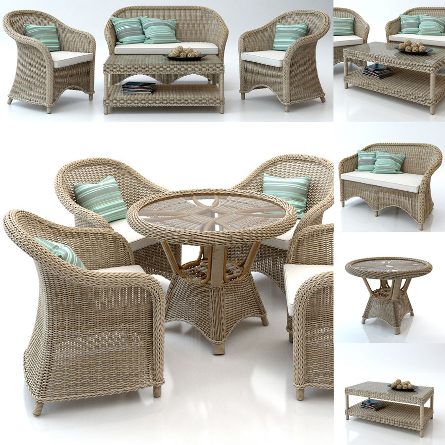 Rattan furniture collection royalty-free 3d model - Preview no. 1