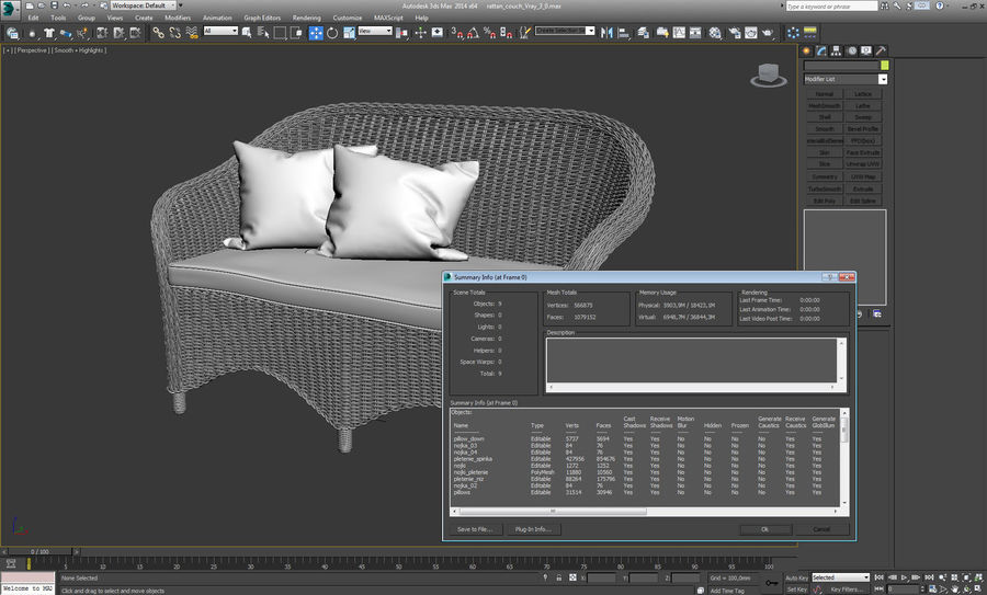 Rattan furniture collection royalty-free 3d model - Preview no. 28