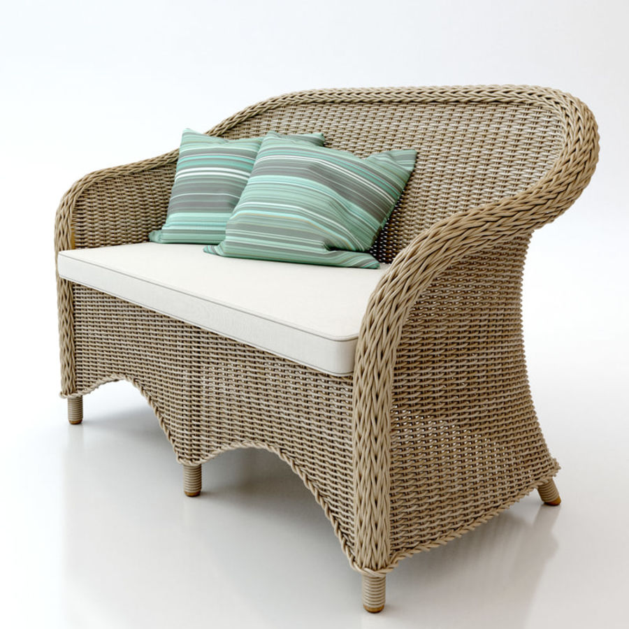 Rattan furniture collection royalty-free 3d model - Preview no. 17