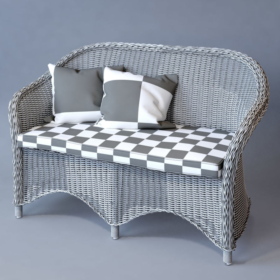 Rattan furniture collection royalty-free 3d model - Preview no. 32