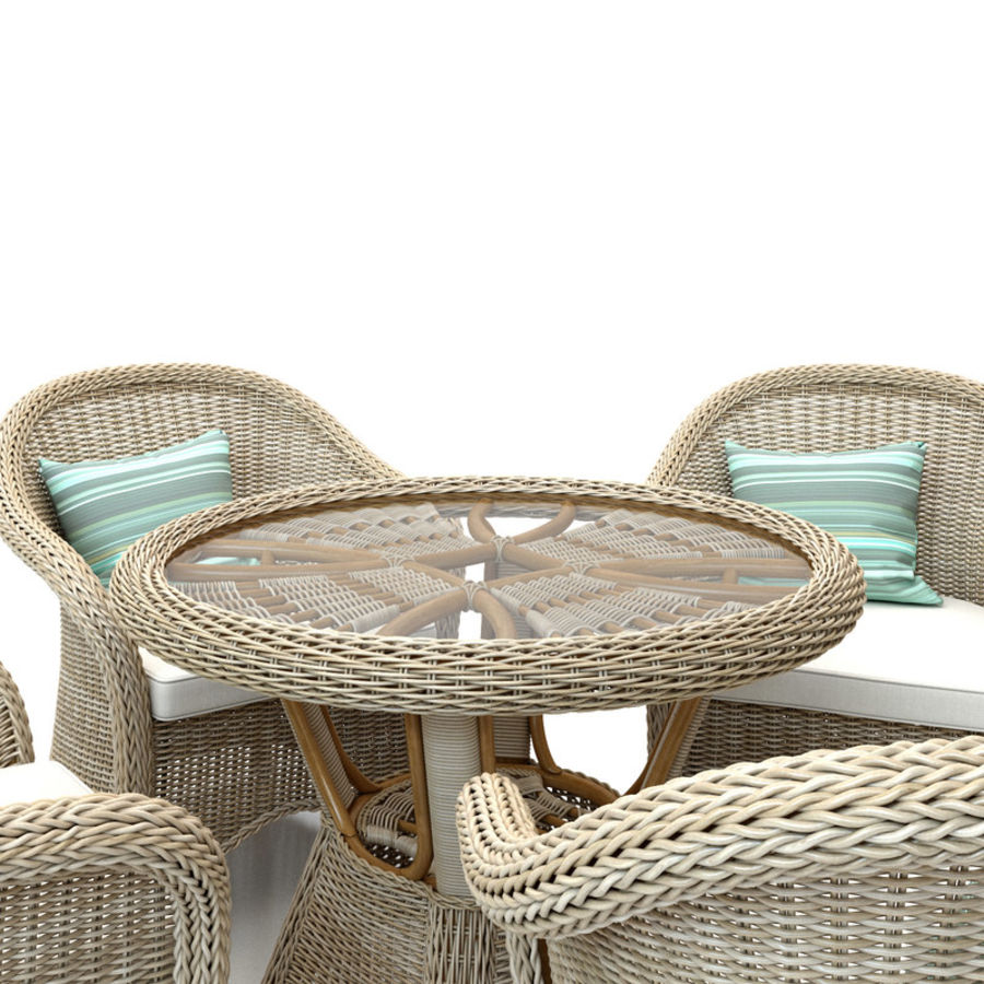 Rattan furniture collection royalty-free 3d model - Preview no. 6