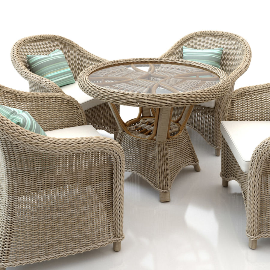Rattan furniture collection royalty-free 3d model - Preview no. 4