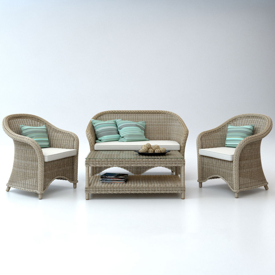 Rattan furniture collection royalty-free 3d model - Preview no. 3
