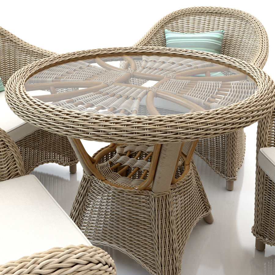 Rattan furniture collection royalty-free 3d model - Preview no. 5