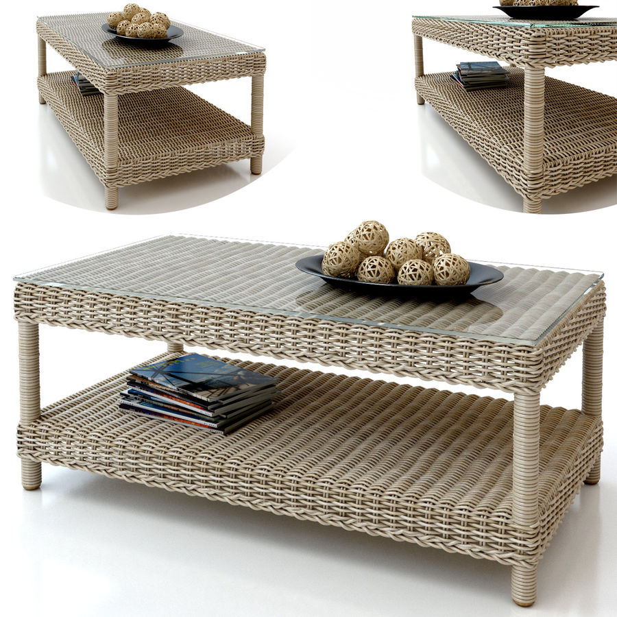 Rattan furniture collection royalty-free 3d model - Preview no. 12