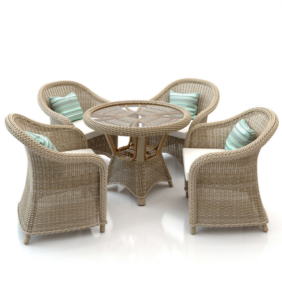 Rattan furniture collection royalty-free 3d model - Preview no. 2