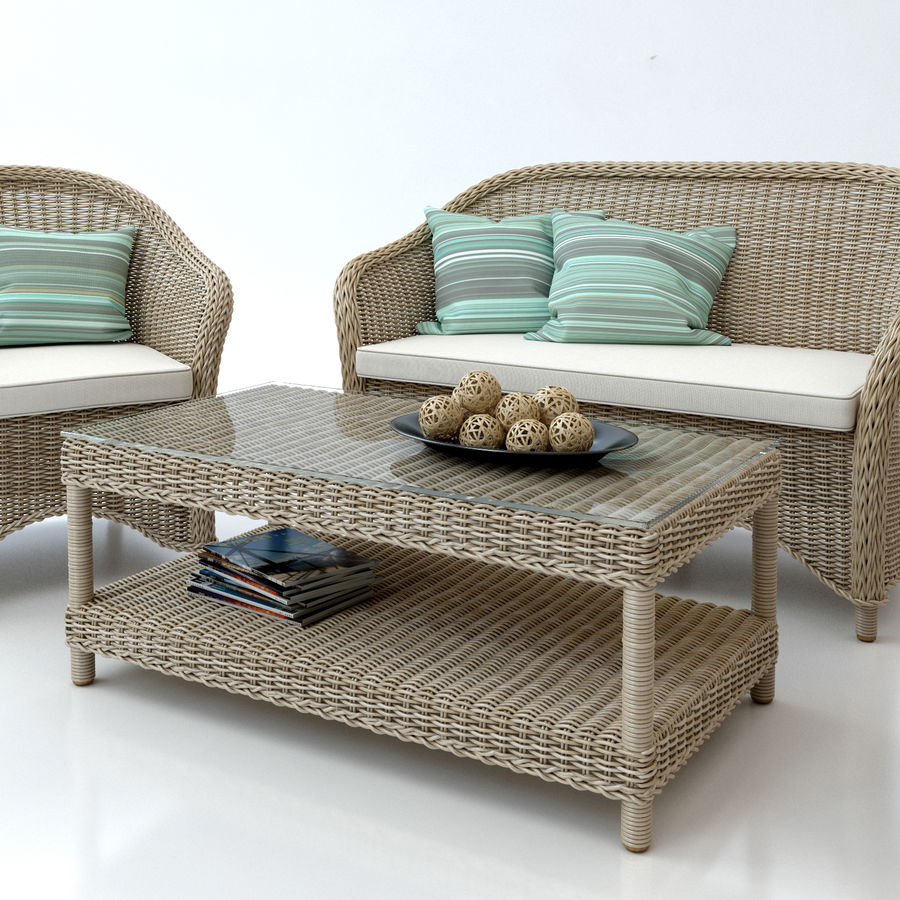 Rattan furniture collection royalty-free 3d model - Preview no. 7