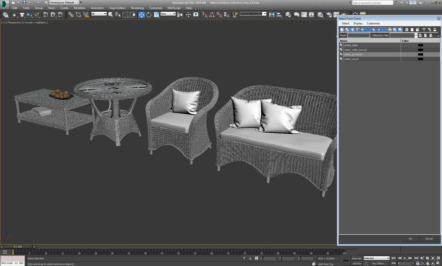 Rattan furniture collection royalty-free 3d model - Preview no. 24