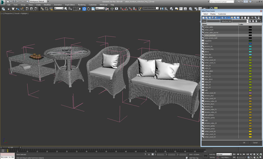 Rattan furniture collection royalty-free 3d model - Preview no. 23