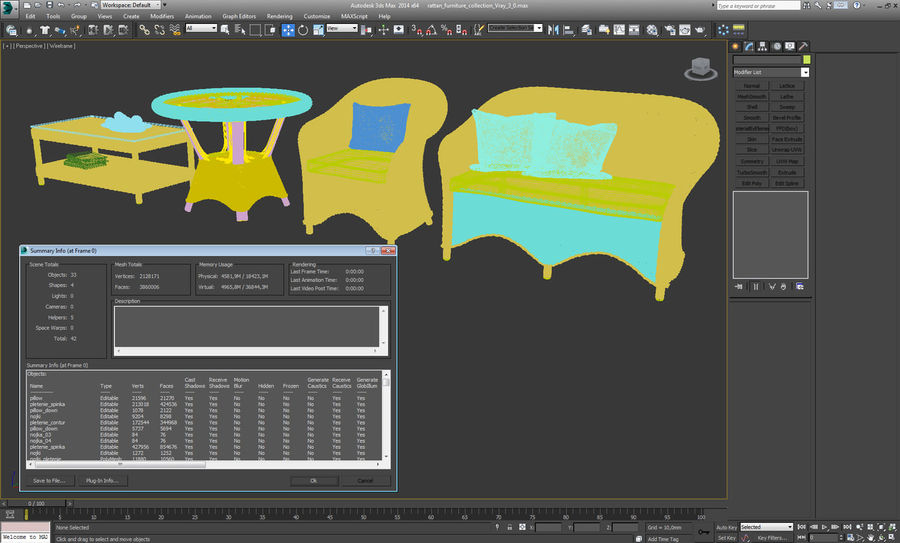 Rattan furniture collection royalty-free 3d model - Preview no. 22