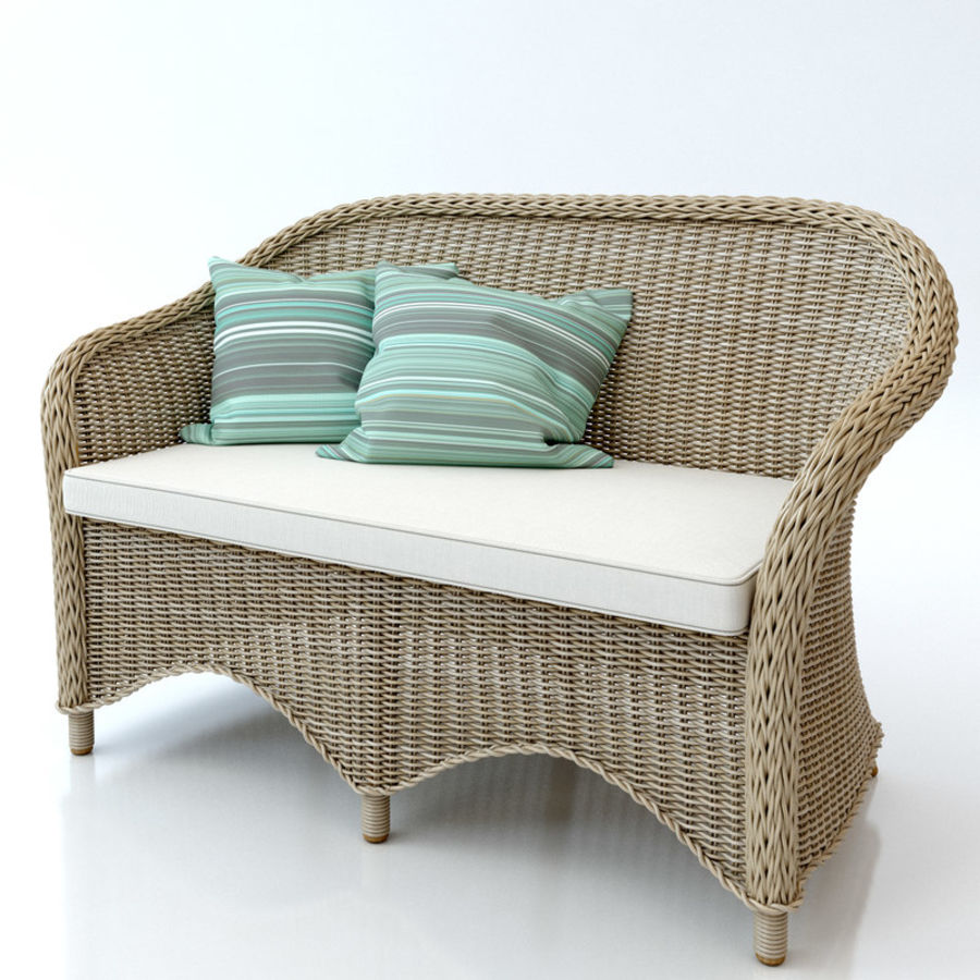 Rattan furniture collection royalty-free 3d model - Preview no. 16
