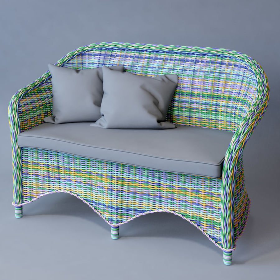 Rattan furniture collection royalty-free 3d model - Preview no. 29