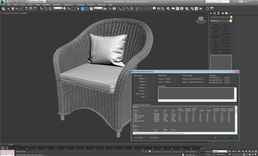 Rattan furniture collection royalty-free 3d model - Preview no. 25