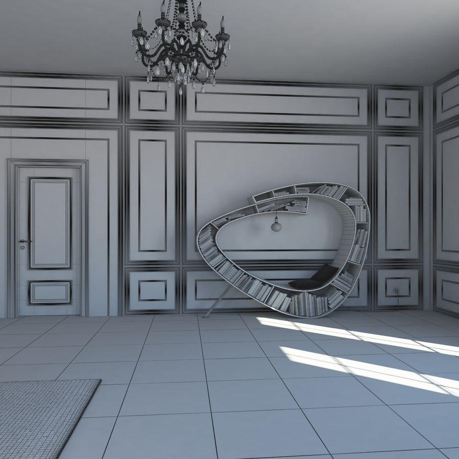 French Country Minimalist Bedroom Interior royalty-free 3d model - Preview no. 17