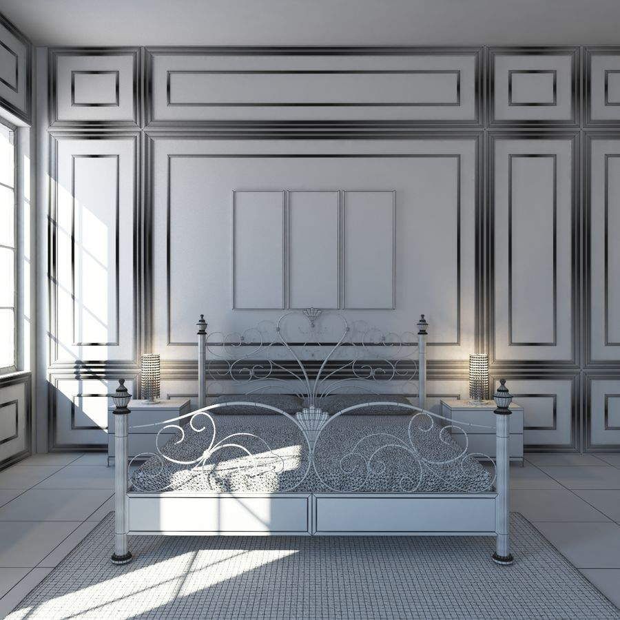 French Country Minimalist Bedroom Interior royalty-free 3d model - Preview no. 18