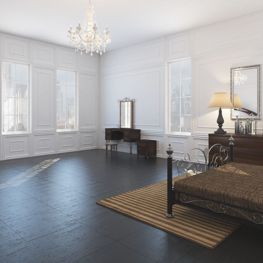 French Country Minimalist Bedroom Interior royalty-free 3d model - Preview no. 4