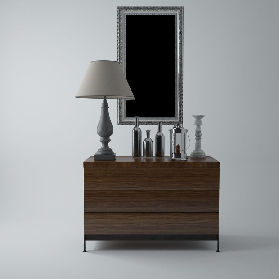 French Country Minimalist Bedroom Interior royalty-free 3d model - Preview no. 8