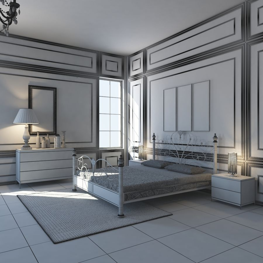 French Country Minimalist Bedroom Interior royalty-free 3d model - Preview no. 14