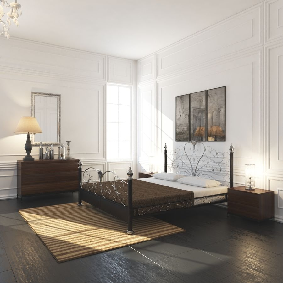 French Country Minimalist Bedroom Interior royalty-free 3d model - Preview no. 1