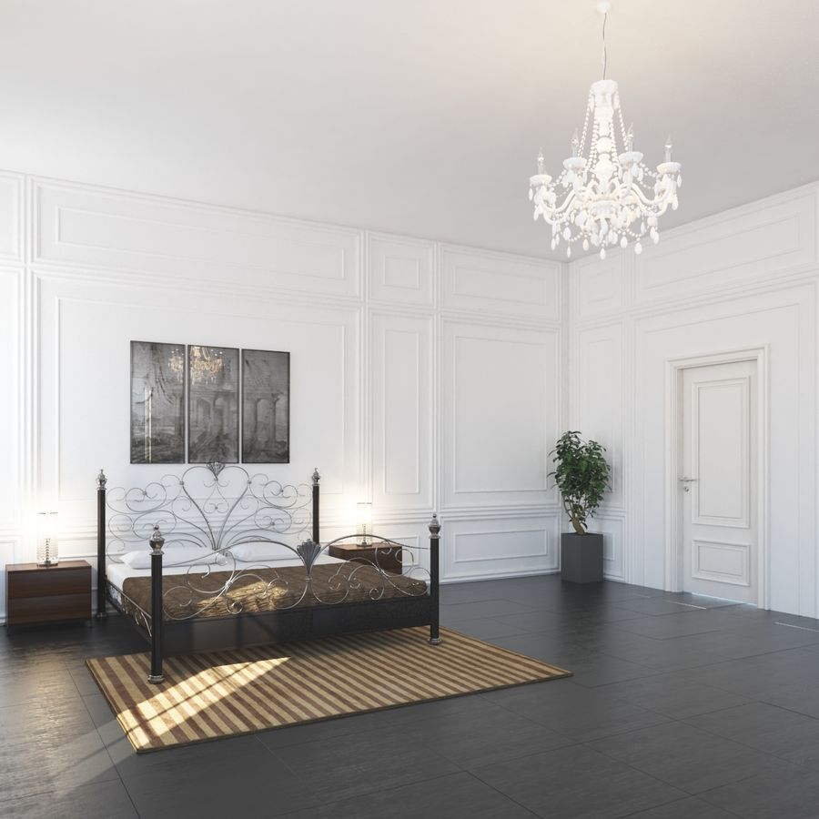 French Country Minimalist Bedroom Interior royalty-free 3d model - Preview no. 3