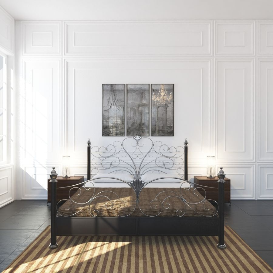 French Country Minimalist Bedroom Interior royalty-free 3d model - Preview no. 6